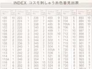 コスモ刺繍糸 25番 色番