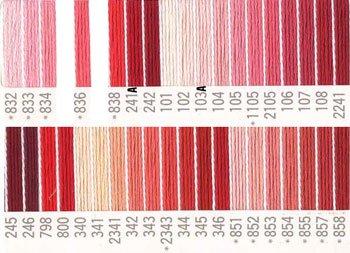 コスモ刺繍糸 25番 赤系 国産刺繍糸