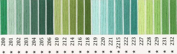 オリムパス刺繍糸 25番 緑・黄緑色系 1 【参考画像1】
