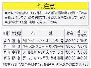 オルガン針 家庭用ミシン針 HAx1 #16 厚地用 【参考画像1】