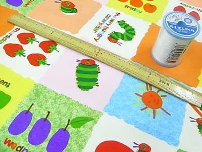 ■廃番■ はらぺこあおむし 生地 キャラクターオックス布地 フルーツブロック オレンジ 【参考画像2】