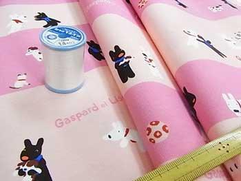 ■廃番■ リサとガスパール キャラクター生地 いっしょにあそぼう ピンク 67-916