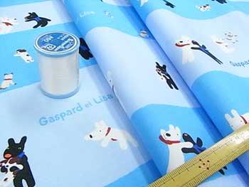 ■廃番■ リサとガスパール キャラクター生地 いっしょにあそぼう ブルー 67-917