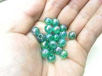 DX 8mm 丸ビーズ col.8 オーロラ 緑