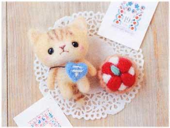 ■廃番■ ハマナカ羊毛キット トラ猫の郵便屋さんと苺のタルト H441-309