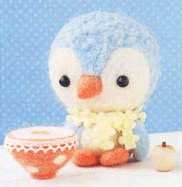 ■廃番■ 手のひらサイズのマスコット ハマナカ羊毛キット babyペンギン+ カフェオレpinクッション H441-313
