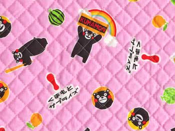 ■廃番■ くまモン キルティング生地 ピンク 約104cm幅 1131円/50cm
