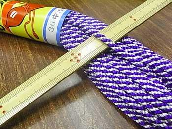 江戸打ち紐(中) 紫白 太さ約4mm 大巻き 約140m