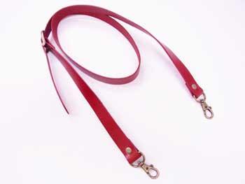 ショルダー持ち手 本革 赤 #102 幅約2cm 長さ約105cm〜125cm