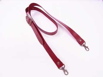 ショルダー持ち手 本革 赤 #102 幅約2.5cm 長さ約105cm〜125cm