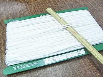 クララコード C-1000 白 ポリエステル紐 太さ約2.5mm 1反 約30m巻