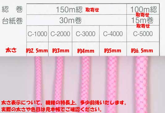 クララコード C-1000 col.28 ポリエステル紐 1反 約30m巻 太さ約2.5mm 【参考画像3】