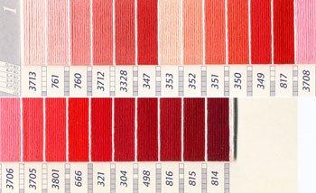 DMC 刺繍糸セット 25番 col.3713〜814x各1束 23色セット ピンク・赤色系 1