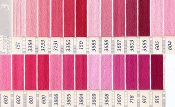 DMC 刺繍糸セット 25番 col.151〜915x各1束 26色セット ピンク・赤色系 3