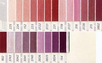 DMC 刺繍糸セット 25番 col.225〜154x各1束 22色セット ピンク・赤色系 4