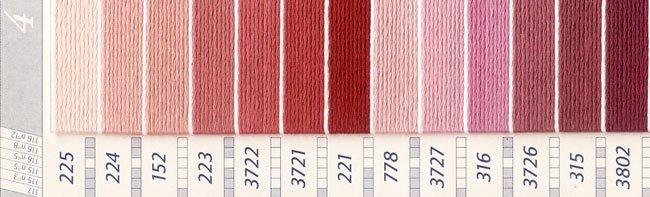 DMC 刺繍糸セット 25番 col.225〜154x各1束 22色セット ピンク・赤色系 4 【参考画像2】