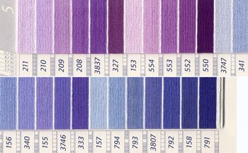 DMC 刺繍糸セット 25番 col.211〜791x各1束 25色セット 紫・青色系 1