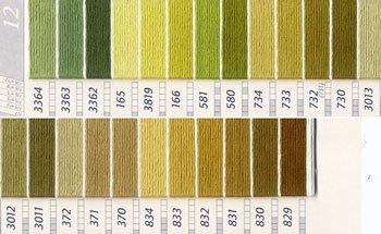DMC 刺繍糸セット 25番 col.3364〜829x各1束 24色セット 緑・黄緑色系 4