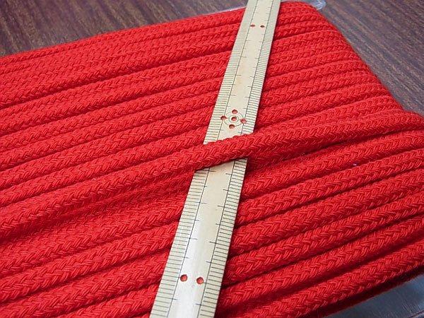 アクリルコード スピンドル紐 赤 太さ約7x4mm 1反約25m 【参考画像1】