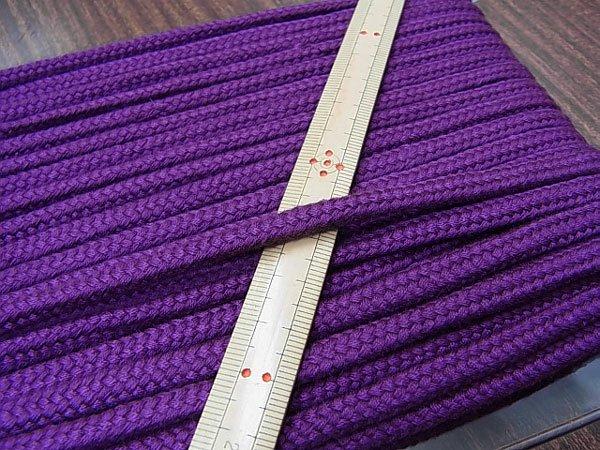 アクリルコード スピンドル紐 紫 太さ約7x4mm 1反約25m 【参考画像1】