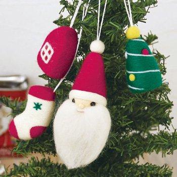 ハマナカ フェルト羊毛キット サンタとクリスマスモチーフのオーナメント H441-401