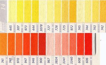 DMC刺繍糸 25番 黄・橙色系 2