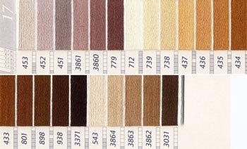 DMC刺繍糸 25番 茶・白黒系 1