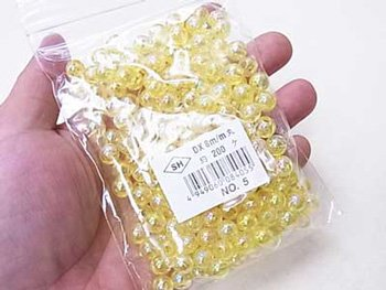 島村SH 丸ビーズ DX8mm 1箱(10袋) col.5 オーロラ 黄色