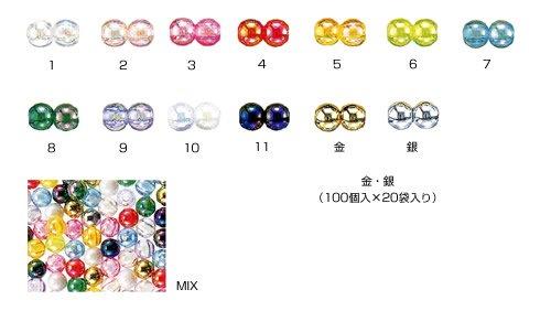 島村SH 丸ビーズ DX8mm 1箱(10袋) col.7 オーロラ 水色 【参考画像2】