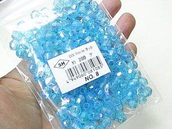 島村SH カットビーズ DX8mm 1箱(10袋) col.8 オーロラ 空色