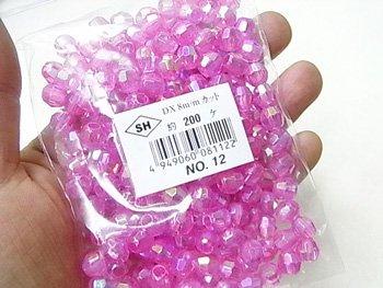 島村SH カットビーズ DX8mm 1箱(10袋) col.12 オーロラ 赤紫