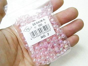 島村SH 丸ビーズ DX 6mm 1箱(20袋) col.2 オーロラ 薄ピンク
