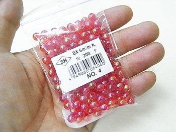 島村SH 丸ビーズ DX 6mm 1箱(20袋) col.4 オーロラ 赤