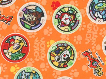 ■廃番■ 妖怪ウォッチ オックス生地 オレンジ メダル柄 2015年度版