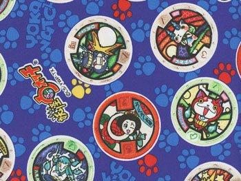 ■廃番■ 妖怪ウォッチ オックス生地 紺 メダル柄 2015年度版