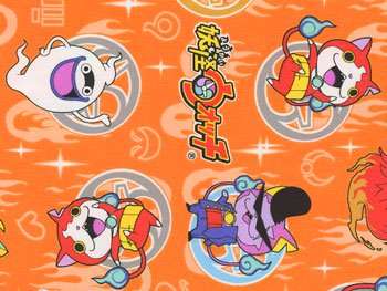 ■廃番■ 妖怪ウォッチ キャラクターオックス生地 オレンジ