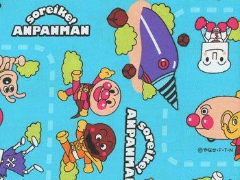 ■廃番■ アンパンマン生地 水色 キャラクター オックス 2015年度版