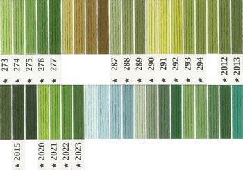 オリムパス刺繍糸 5番 緑・黄緑色系 2