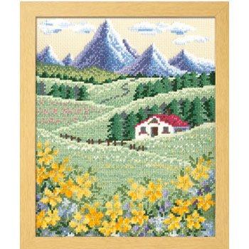 オリムパス 刺繍キット アルプスの山並みとハイジの花畑 7425