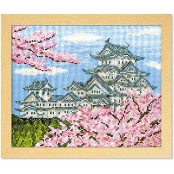 オリムパス 刺繍キット 春の姫路城 7414