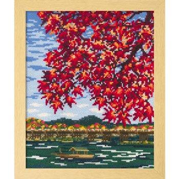 オリムパス 刺繍キット 紅葉の嵐山 7388