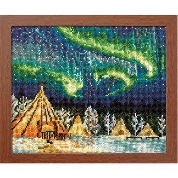 オリムパス 刺繍キット イエローナイフのオーロラ カナダ 7440
