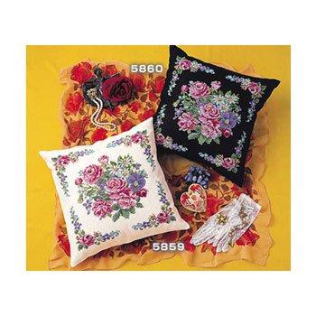 オリムパス 刺繍キット クッション ロマンティックフラワー 5859 ベージュ