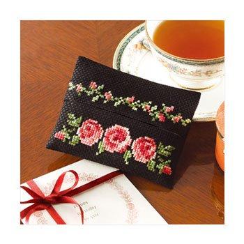 オリムパス 刺繍キット 花刺しゅうの優しい小物 ティッシュケース バラ 9015