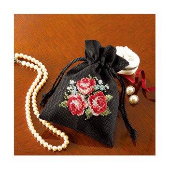 オリムパス 刺繍キット 花刺しゅうの優しい小物 きんちゃく バラ 9017