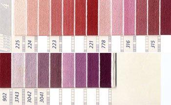 DMC 刺繍糸セット 5番 col.225〜3041x各1束 11色セット ピンク・赤色系 4