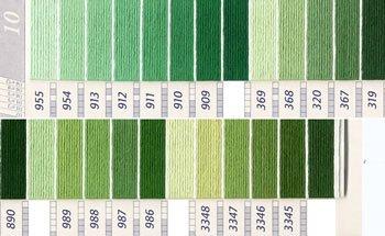 DMC 刺繍糸セット 5番 col.955〜3345x各1束 21色セット 緑・黄緑色系 2