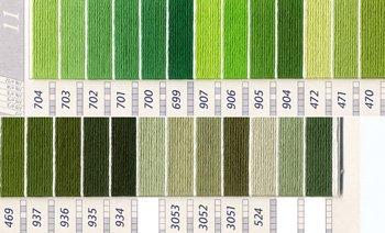 DMC 刺繍糸セット 5番 col.704〜524x各1束 22色セット 緑・黄緑色系 3