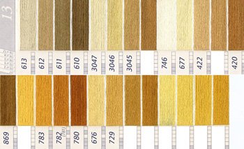 DMC 刺繍糸セット 5番 col.613〜729x各1束 17色セット 黄・橙色系 1