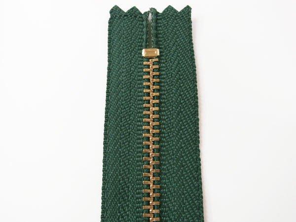 YKK 3G 玉付きファスナー 10cm ゴールド col.530 深緑 【参考画像2】